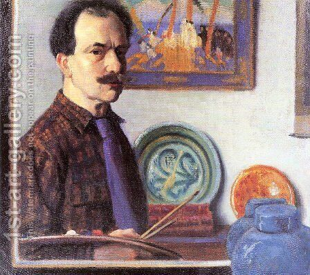 Mirror Self-Portrait by Bernhard Gutmann - Reproduction Oil Painting
