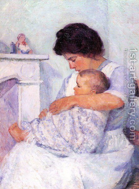 Mother and Child (White Mantel) 1912 by Bernhard Gutmann - Reproduction Oil Painting
