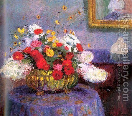 Still Life (Round Bowl with Flowers) by Bernhard Gutmann - Reproduction Oil Painting