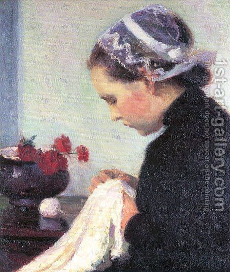 The Sewing Girl 1911 by Bernhard Gutmann - Reproduction Oil Painting