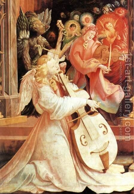 Concert of Angels (detail 1) c. 1515 by Matthias Grunewald (Mathis Gothardt) - Reproduction Oil Painting