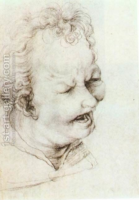 Head of a Shouting Man  (2)  c. 1520 by Matthias Grunewald (Mathis Gothardt) - Reproduction Oil Painting