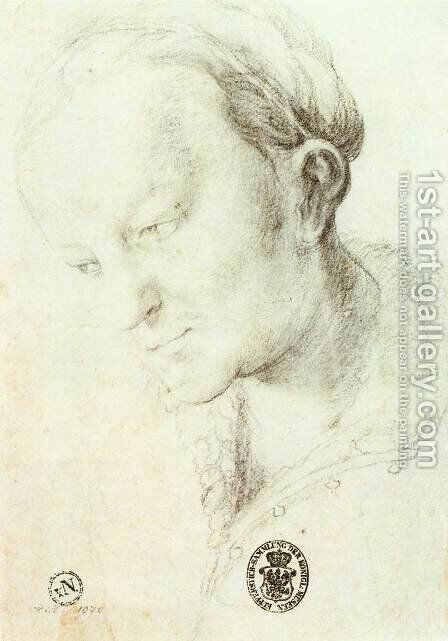 Head of a Young Woman c. 1520 by Matthias Grunewald (Mathis Gothardt) - Reproduction Oil Painting