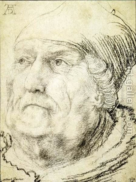 Head of an Old Man c. 1525 by Matthias Grunewald (Mathis Gothardt) - Reproduction Oil Painting