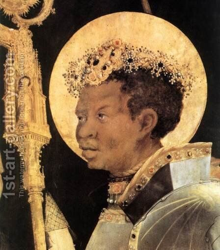 Meeting of St Erasm and St Maurice (detail 2) 1517-23 by Matthias Grunewald (Mathis Gothardt) - Reproduction Oil Painting