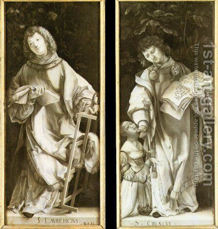 St Lawrence and St Cyricus 1509-11 by Matthias Grunewald (Mathis Gothardt) - Reproduction Oil Painting
