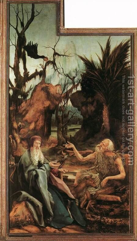 Sts Paul and Antony in the Desert c. 1515 by Matthias Grunewald (Mathis Gothardt) - Reproduction Oil Painting