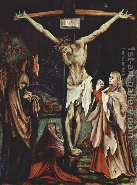 The Crucifixion c. 1502 by Matthias Grunewald (Mathis Gothardt) - Reproduction Oil Painting