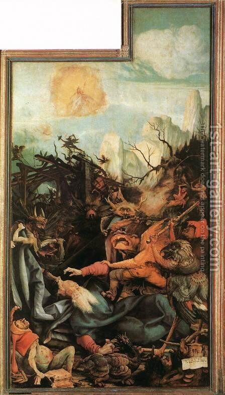 The Temptation of St. Anthony (The Isenheimer Altarpiece) 1510-1515 by Matthias Grunewald (Mathis Gothardt) - Reproduction Oil Painting