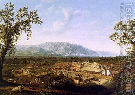 The Excavations of Pompeii  1799 by Jacob Philipp Hackert - Reproduction Oil Painting