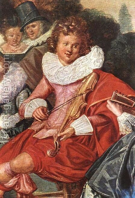 Amusing Party in the Open Air (detail) 1621 by Dirck Hals - Reproduction Oil Painting