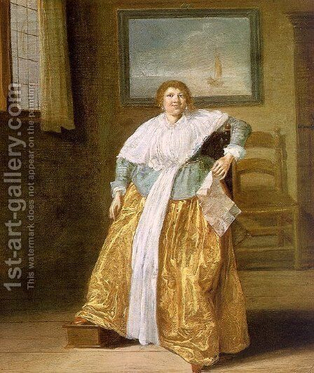 Seated Woman with a Letter  1633 by Dirck Hals - Reproduction Oil Painting