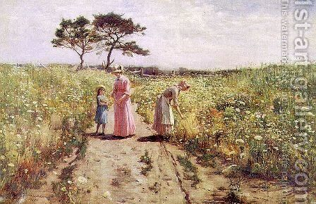 Picking Flowers 1882 by Hamilton Hamilton - Reproduction Oil Painting