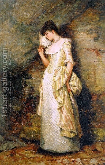 Woman with a Fan  1900 by Hamilton Hamilton - Reproduction Oil Painting