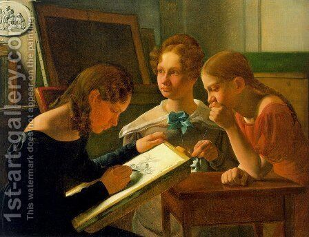 Three Young Girls (The Artists Sisters Alvilde, Ida, and Henriette)  1827 by Constantin Hansen - Reproduction Oil Painting