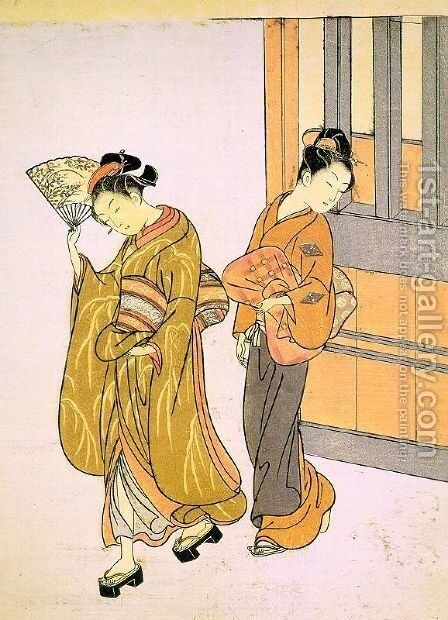 Eight Views- Early Morning Mist in Ogi by Suzuki Harunobu - Reproduction Oil Painting
