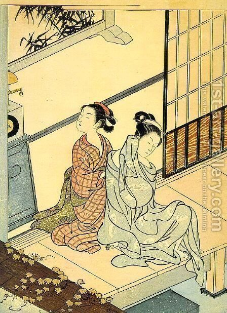 Eight Views- The Evening Bell by Suzuki Harunobu - Reproduction Oil Painting