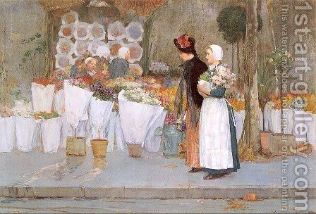 At the Florist 1889 by Childe Hassam - Reproduction Oil Painting