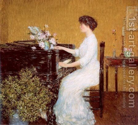 At the Piano 1908 by Childe Hassam - Reproduction Oil Painting