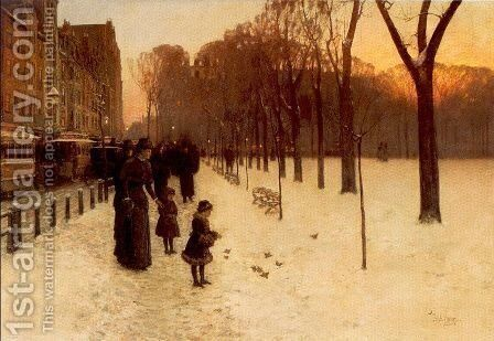 Boston Common at Twilight 1885-86 by Childe Hassam - Reproduction Oil Painting