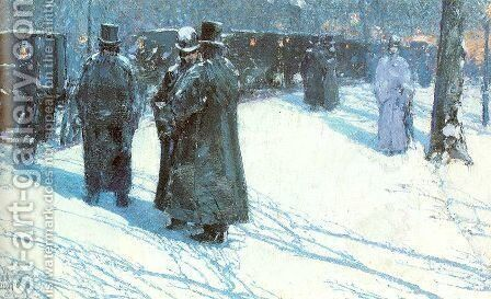 Cab Stand at Night, Madison Square, New York 1891 by Childe Hassam - Reproduction Oil Painting