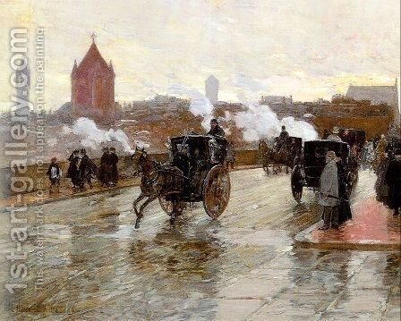 Clearing Sunset (Corner of Berkeley St. and Columbus Ave.) 1890 by Childe Hassam - Reproduction Oil Painting