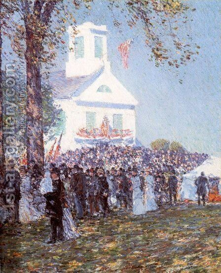 County Fair, New England 1890 by Childe Hassam - Reproduction Oil Painting