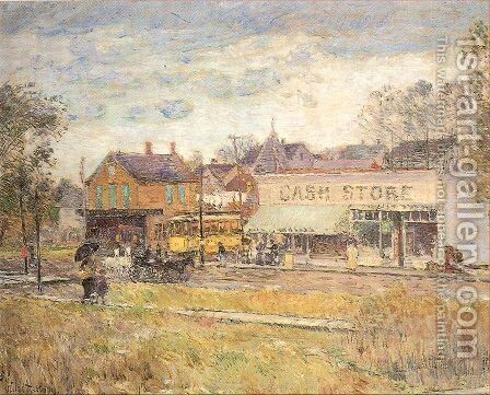 End of the Trolley Line, Oak Park, Illinois 1893 by Childe Hassam - Reproduction Oil Painting