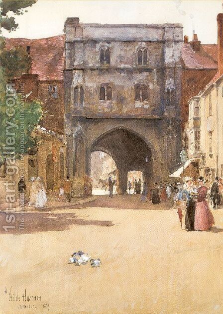 Gateway at Canterbury 1889 by Childe Hassam - Reproduction Oil Painting
