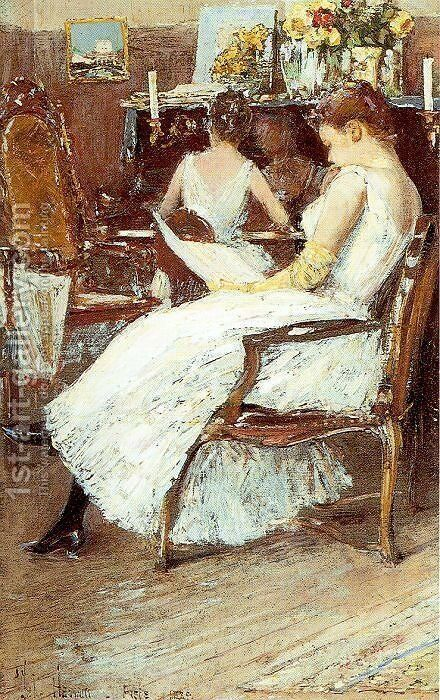 Mrs. Hassam and Her Sister 1889 by Childe Hassam - Reproduction Oil Painting