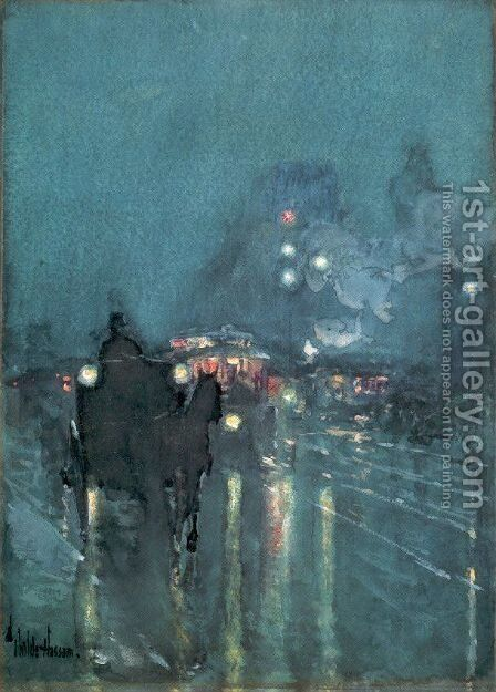 Nocturne, Railway Crossing, Chicago 1892-93 by Childe Hassam - Reproduction Oil Painting