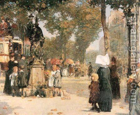 Paris Street Scene 1887 by Childe Hassam - Reproduction Oil Painting