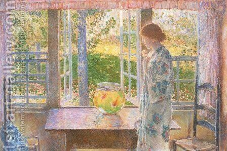 The Goldfish Window 1916 by Childe Hassam - Reproduction Oil Painting