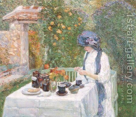 The Terre-Cuite Tea Set 1910 by Childe Hassam - Reproduction Oil Painting