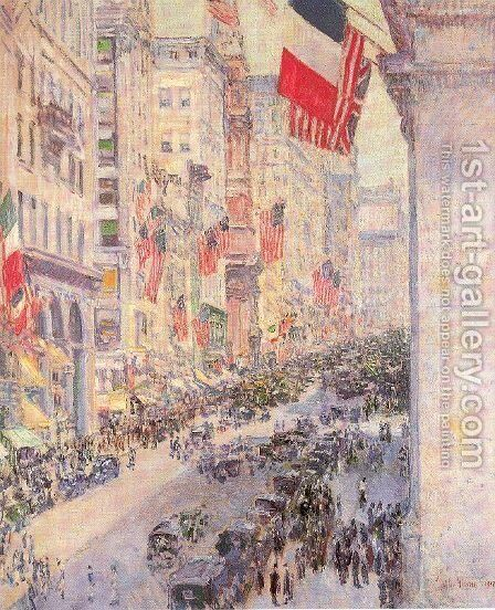 Up the Avenue from Thirty-Fourth Street, May 1917 by Childe Hassam - Reproduction Oil Painting