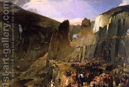 Penryhn Slate Quarry  1832 by Henry Hawkins - Reproduction Oil Painting