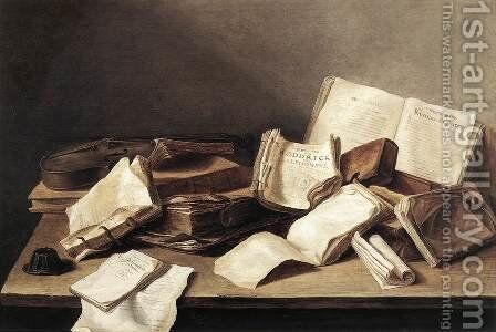 Still-Life of Books 1628 by Jan Davidsz. De Heem - Reproduction Oil Painting