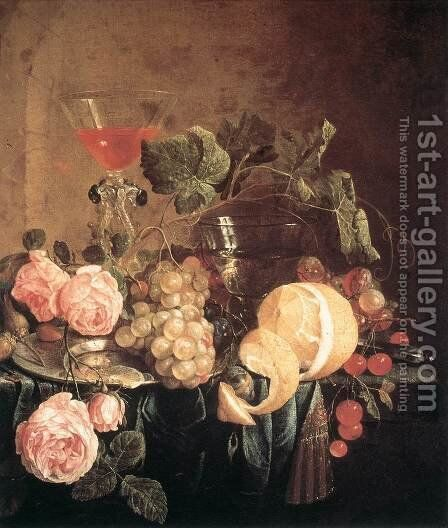 Still-Life with Flowers and Fruit c. 1650 by Jan Davidsz. De Heem - Reproduction Oil Painting