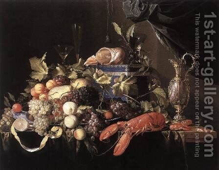Still-Life with Fruit and Lobster 1648-49 by Jan Davidsz. De Heem - Reproduction Oil Painting
