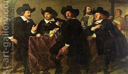 The Regents of the Kloveniersdoelen Eating a Meal of Oysters 1655 by Bartholomeus Van Der Helst - Reproduction Oil Painting