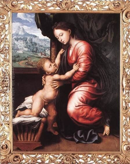 Virgin and Child by Jan Sanders Van Hemessen - Reproduction Oil Painting