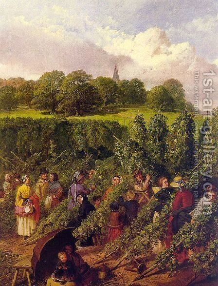 The Hop Pickers  1855 by John Frederick Herring Snr - Reproduction Oil Painting