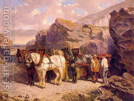 The Quarry  1858 by John Frederick Herring Snr - Reproduction Oil Painting