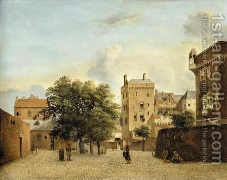 View of a Small Town Square c. 1660 by Jan Van Der Heyden - Reproduction Oil Painting