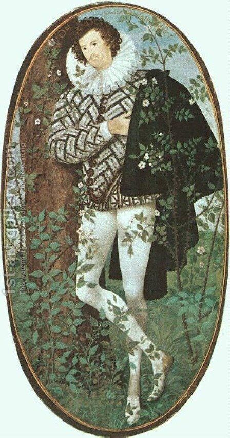 A Youth Leaning Against a Tree Among Roses  c.1588 by Nicholas Hilliard - Reproduction Oil Painting