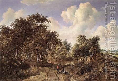 A Wooded Landscape 1660-65 by Meindert Hobbema - Reproduction Oil Painting