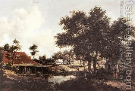 The Water Mill 1663-68 by Meindert Hobbema - Reproduction Oil Painting