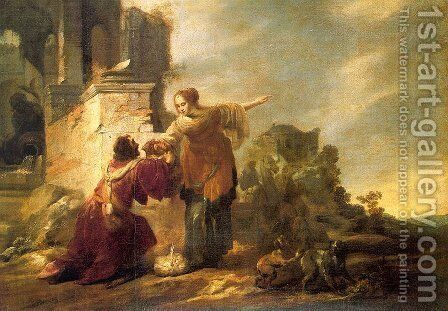 Abraham's Servant with Rebecca by Jacob Hogers - Reproduction Oil Painting