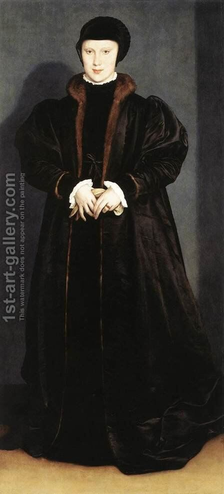 Christina of Denmark, Ducchess of Milan 1538 by Hans, the Younger Holbein - Reproduction Oil Painting
