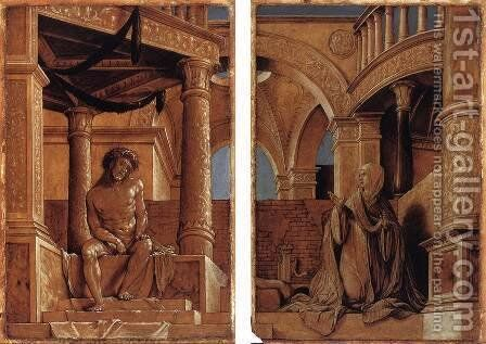 Diptych with Christ and the Mater Dolorosa c. 1520 by Hans, the Younger Holbein - Reproduction Oil Painting